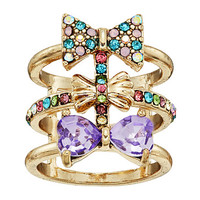 Betsey Johnson Triple Bow Multi Row Ring Multi - Zappos.com Free Shipping BOTH Ways