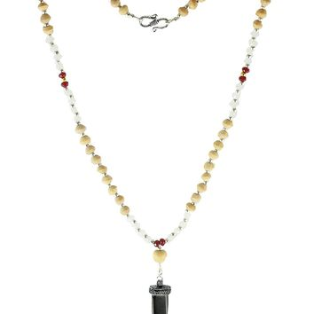 Ojas Horn Shark Tooth Amulet and Tusli 108 Power Beads Mala Necklace