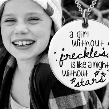 A Girl Without Freckles Necklace | Redhead Gift