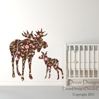 Moose Wall Decals - by Decor Designs Decals, Mom With Baby Moose Decal - Moose Baby, Modern Nursery, Nursery Decals, Baby Decals, Woodland Theme - Wall Decals