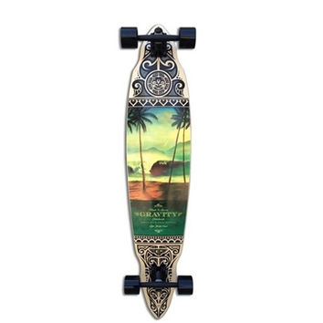 """GRAVITY PINTAIL TRES PALM 45"""" COMPLETE LONGBOARD SKATEBOARD"""