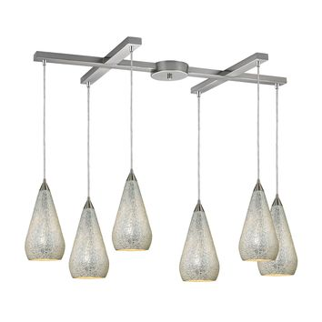 546-6SLV-CRC Curvalo 6 Light Pendant In Satin Nickel And Silver Crackle Glass - Free Shipping!