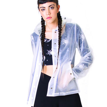 Motel Rain Shower Jacket in Pu Clear and Navy