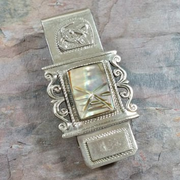 Vintage Silver Money Clip Taxco Mexico Silver Ornate with Abalone Shell Face Mask Reminiscent of Ancient Mayan Aztec South American Culture