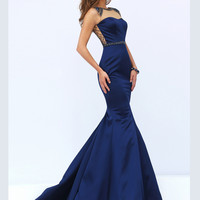 Beaded Illusion Neckline Sherri Hill Formal Prom Gown 50081