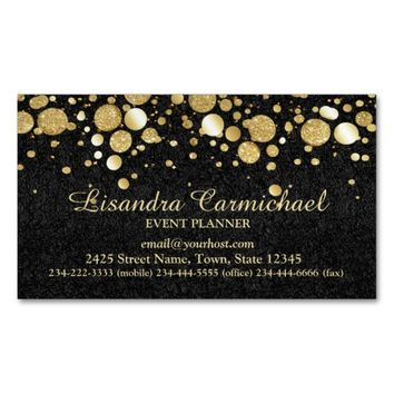 Gold Foil Confetti On Black Magnetic Business Card