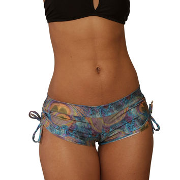 Cheeky Blue Peacock Print Tie Side Shorts- Sassy Assy