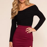 Angel Pencil Skirt - Burgundy