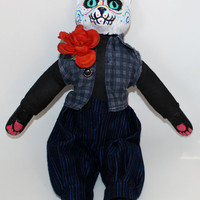Belial the Day of the Dead Cat Creepy Doll OOAK Circus Gothic Horror Dia de los Muertos Sugar Skull Mexican Holiday Marigold Flower V5