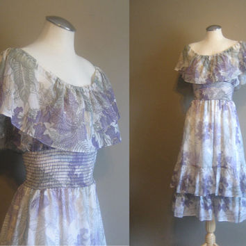 vintage LAVENDER Floral Bohemian Goddess Dress / Southern Belle / Tiered Sundress