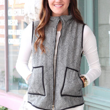 Herringbone Quilted Tweed Vest {Black}