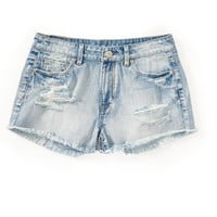 HIGH-WAISTED LIGHT WASH DESTROYED SHORTY SHORTS