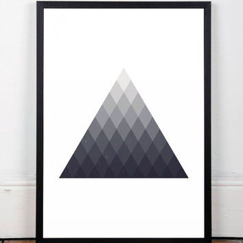 Geometric poster, Triangles art print, Triangles poster, Contemporary art, Wall prints, Wall decor, Modern wall art, Monochrome art, A3 art