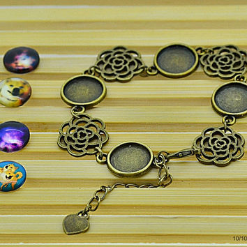 Unfinished charm bracelet bangle chain base setting fit 12mm cabochon bracelet jewelry finding