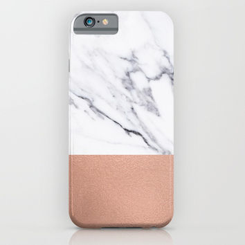 Marble Rose Gold Luxury iPhone Case and Throw Pillow Design iPhone & iPod Case by Nature Magick