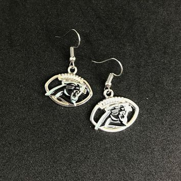 Hot selling 5pair/lot Football Team Logo drop earrings Carolina Panthers  Women earrings Jewelry