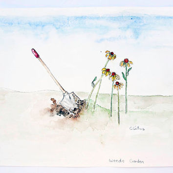Mother's day, Father's day, mom gift ideas, landscape original watercolor art, wall art for home or office. Wildflowers in the summer garden