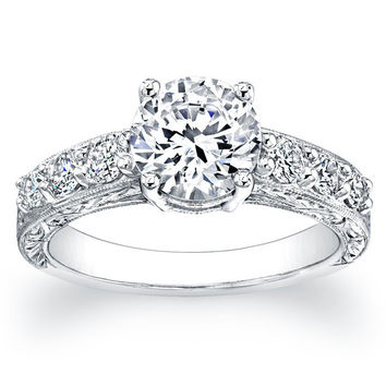 Ladies 14kt white gold antique engagement ring 0.50 ctw G-VS2 Round Pave-set diamonds with 1ct Round White Sapphire Ctr