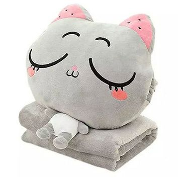 3 In 1 Cute Cartoon Plush Stuffed Animal Toys Throw Pillow Blanket Set with Hand Warmer Design.