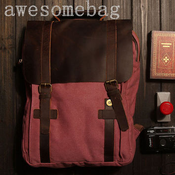 "17""Rose red BACKPACK  Cow  canvas rucksack  clutch bag  Leather Briefcase / leather  Messenger bag / Laptop bag(1820)"