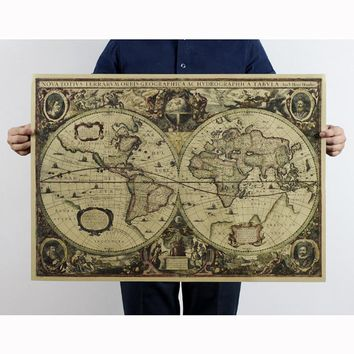 Vintage Retro Print  Voyage Map Kraft Paper Posters Antique Poster Wall Sticker Bedroom Decor 51*72cm