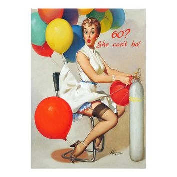 60th Birthday, Vintage, Sexy Pin Up Girl, Custom Card