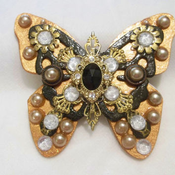 Brooch, Pin, Art Jewelry, Butterfly, Art Brooch, Mixed Media, Handmade Jewelry, Rhinestones, Pearls, Gold Filigree,
