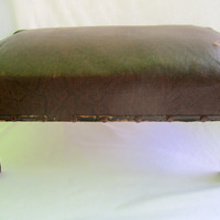 Leather And Wood Foot Stool Vintage Ottoman Handmade Rustic Man Cave