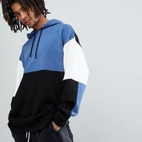 ASOS Oversized Longline Hoodie In Colour Block at asos.com