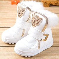 Fashionable Baby Boots with Fur Winter Booties Water proof Plush Booties for Girls