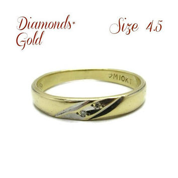 10K Gold Wedding Band - Diamond Studded Ring | Vintage Estate Wedding Band | Size 4.5