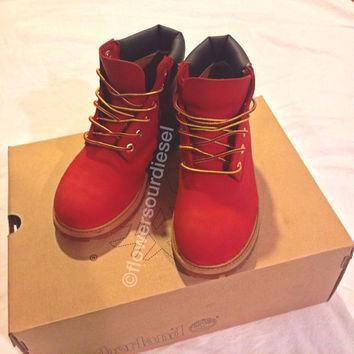 Red Timberland Boots (Womens Sizes)