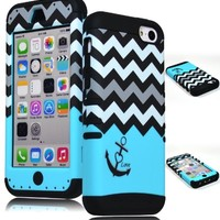 iPhone 5c Phone Case, Bastex Heavy Duty Hybrid Soft Black Silicone Cover Hard White & Black Chevron with Teal Love Anchor Design Case for iPhone 5C