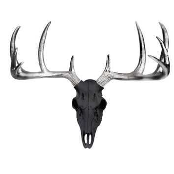 Large Deer Head Skull | Faux Taxidermy | Black + Silver Antlers Resin
