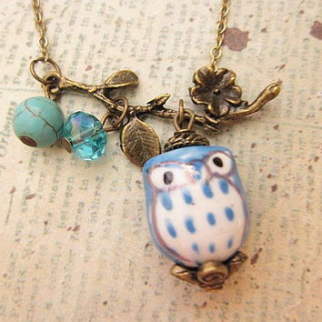 Blue Owl Necklace with turquoise stone and crystal accent