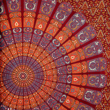 hippie mandala tapestry, indian wall hanging,  block print bedspread bed cover, bohemian ethnic tapestry, queen twin wall decor tapestry