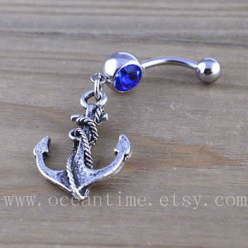 Anchor Belly Button Rings,Navel Jewlery, anchor belly button ring,vintage anchor, navy ring,summer jewelry