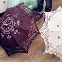 For Wedding Flower Girl Handmade Battenburg Lace Vintage Umbrella Parasol Plum White Ivory