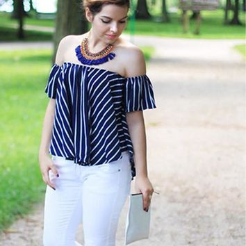 Women Striped Off The Shoulder Swing Top Summer Style New Ladies Tops Sexy Shirt Casual High Low Loose Blouse