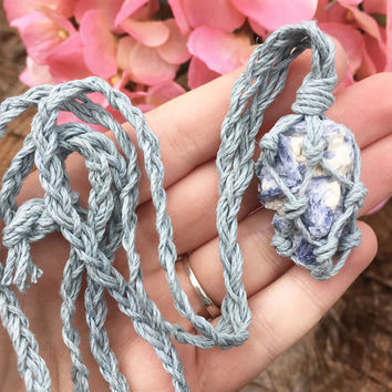 Hemp  Necklace: Kyanite Crystal Wrapped with Hemp Cord, Crystal Necklace, Macrame, Healing Crystal, Hemp Jewelry, Kyanite Crystal