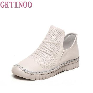 GKTINOO New Women Genuine Leather Boots Vintage Style Flat Booties Soft Cowhide Women's Shoes Handmade Spring Ankle Boots Female