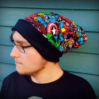 comic book Super Heros slouch beanie Hat in sizes baby/ toddler/ kids/ adult