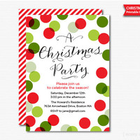 Christmas Party Invitation Printable Holiday Celebration Digital File PDF Invite Traditional Colors