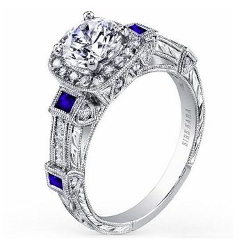 "Kirk Kara ""Carmella"" Cushion Halo Baguette Station Blue Sapphire Diamond Engagement Ring"