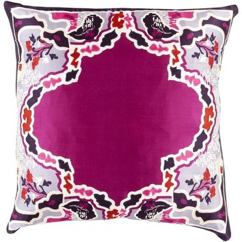 Purple Magenta Chinois Silk Pillow