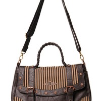 Banned Vintage Steampunk Brown Black Stripes Wild West Steampunk Handbag with Skull Earrings