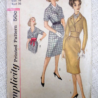 Vintage Pattern McCall's 4919 dress sewing Full Skirt Fitted Bodice Wiggle 1950s Rockabilly Bust 34 Shirtwaist