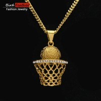 Bird Feather Stainless Steel Necklace for men women BasketBall-Nets Pendant Chain Necklaces & Pendants Hip Hop Fashion Jewelry