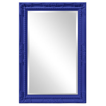 "Howard Elliott Queen Ann Rectangular Glossy Royal Blue Mirror 24"" x 36"" x 1"""