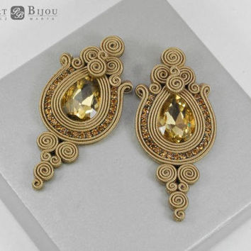 Stud soutache, Orecchini soutache, Gold studs, Beige soutache, Green soutache, Summer jewelry, Soutache earrings, Gold earrings